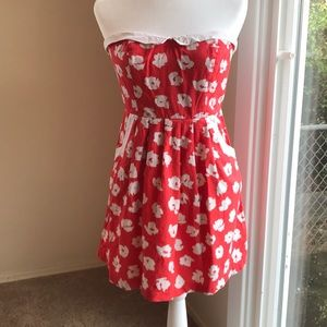 Urban outfitters red strapless dress